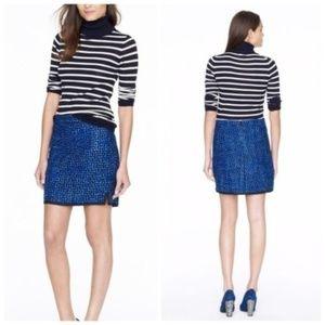 J Crew Postage Stamp Mini Skirt Indigo Tweed 0
